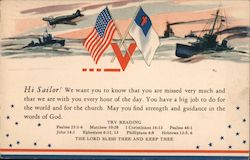Hi Sailor... The Lord Bless Thee And Keep Thee. Bible verses to support Navy sailors in WW II Postcard