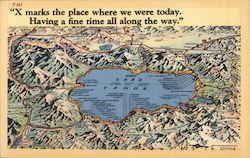 X Marks the Place Where We Were Today. Map of Lake Tahoe Area. Postcard