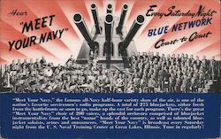 "Hear ""Meet Your Navy"" every Saturday Night, Blue Network radio Postcard"