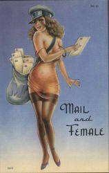 Mail and Female Postcard