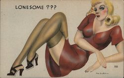 Lonesome?? A Pinup Laying Seductively Postcard