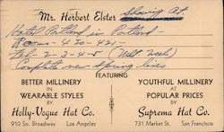 Hat show and sale announcement, 1947 Postcard