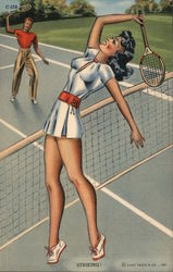 Striking - A Man and A Woman Playing Tennis Postcard