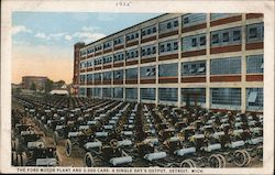 Ford Motor Plant and 3,000 Cars, A Single Day's Output Postcard