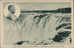 Jean Lussier and his Rubber Ball over Horse Shoe Falls, July 4th 1928. Postcard