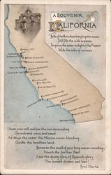 A Souvenir Of California: state map with the missions and a poem by Bret Harte Postcard