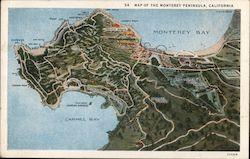 Map of the Monterey Peninsula in California Postcard