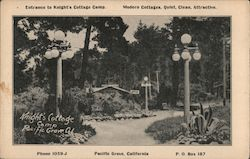 Entrance to Knight's Cottage Camp Postcard