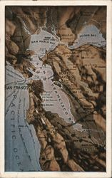 Map of San Francisco Bay Area Postcard