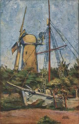Golden Gate Park Gjoa and Windmill Postcard