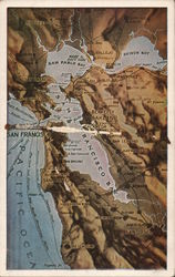 Topographical View of San Francisco Bay Area Postcard