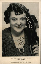 "KGO and KPO invite you to listen to Judy Deane of ""A Good Man is Hard To Find"" fame Postcard"