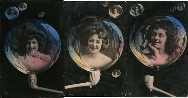 Set of 3: Women in Bubbles, Clay Pipe