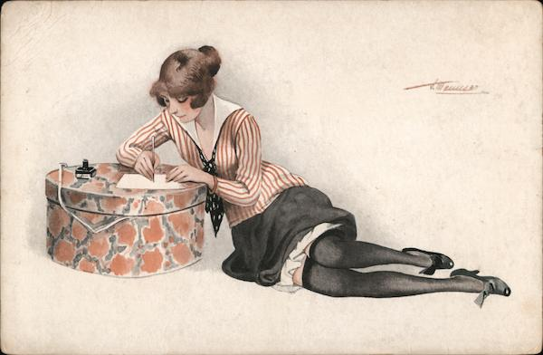 Woman writing a letter on a hat box Suzanne Meunier