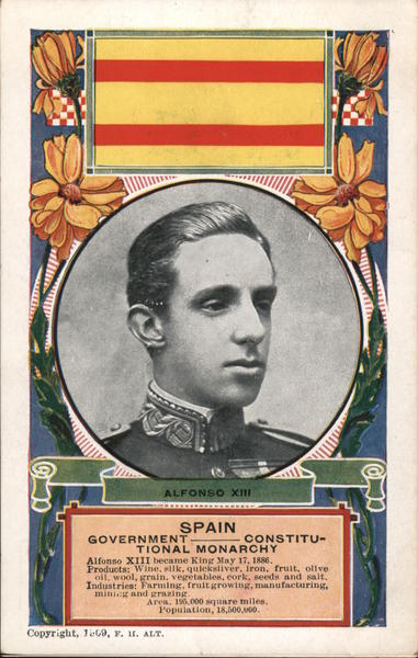 King Alfonso XIII of Spain, and flag
