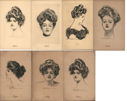 "Lot of 7: Gibson Girls ""Pictoral Comedy"" Postcard"