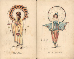 "Lot of 2: Art Deco ""Bed-Time"" ""The Nautch Girl"" Postcard"