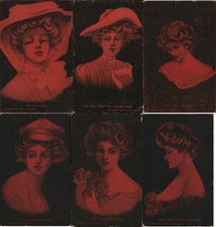 "Lot of 6: Red Tinted ""Gibson"" Girl Style cards Postcard"