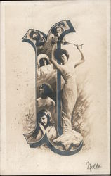 "Letter ""I"" with women Postcard"