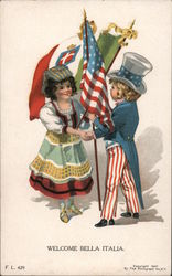 Welcome Bella Italia (Italian girl and Uncle Sam boy with flags) Postcard
