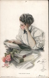 Study Hour - Harrison Fisher Postcard