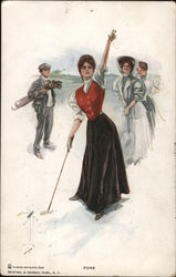 Fore: wmoan playing golf Postcard