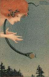 Woman Playing a Lyre - Raphael Kirchner