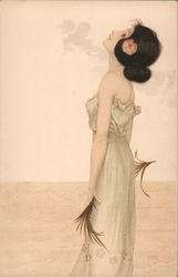 Woman With Palm Frond - Raphael Kirchner