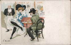 Couple at a cafe, by G. Mouton Postcard