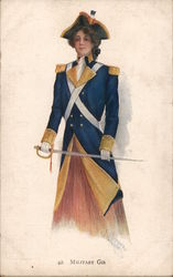 Military Girl in Colonial Uniform with Sword