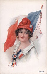 Woman with a French flag Postcard