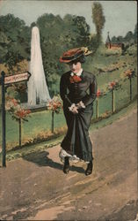 Pour Messieurs. Woman unable to find a bathroom. Postcard