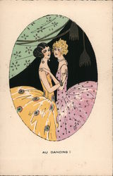 Two Women Dancing, Flappers Postcard