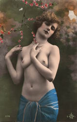 Topless Woman in a Blue Sarong, Tinted Art Deco Postcard