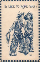 I'd LIke To Rope You (Cowboy romance) Postcard