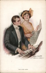 The Love Song. Couple at the Piano. Postcard