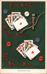 Playing With Fate. He wants the Queen of Diamonds, She wants the King of Hearts. Postcard