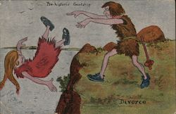 Prehistoric Courtship - Divorce, Throw Woman in River Postcard