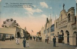 """The Isthmus"" Amusement Street, Panama-Calif. Exposition, San Diego, 1915 Postcard"