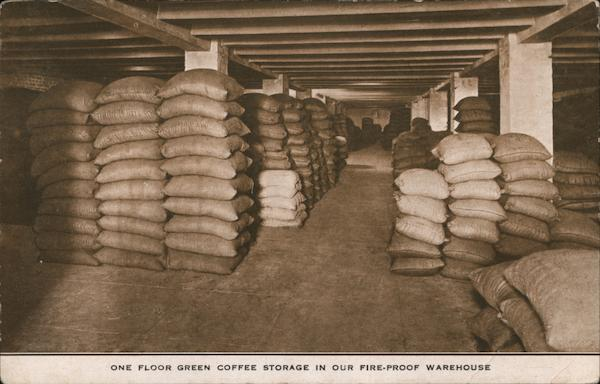 Green Coffee Storage in Fire-Proof Warehouse, J.A. Folger & Co. San Francisco California