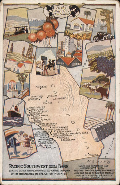 California Map: Ad for Pacific Southwest Trust & Savings Bank