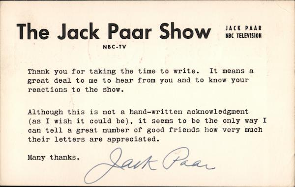 The Jack Paar Show, NBC Television Celebrities