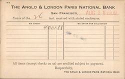 Bank receipt for a deposit. Anglo & London Paris National Bank, 1909. Postcard