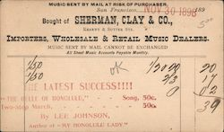 Receipt for sale of sheet music by mail, Sherman, Clay & Co. Postcard