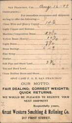 Sales ad for metals from Great Western Smelting & Refining Co., 1899 Postcard