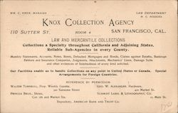 Knox Collection Agency advertisement, 1895 Postcard