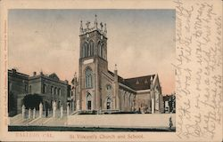 St. Vincent's Church and School Postcard