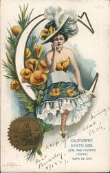 California State Girl, Seal and Flower Postcard
