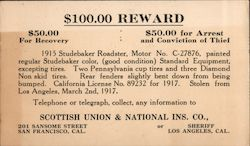 $100 Reward for arrest and conviction of a Thief Postcard