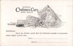 Where Chalmers Cars Are Built. Auto sales ad. Postcard